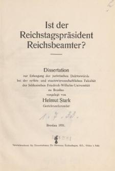 Ist der Reichstagspräsident Reichsbeamter?