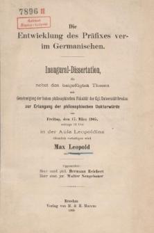 Die Entwicklung des Präfixes ver- im Germanischen.