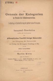 Die Genesis der Kategorien im Processe des Selbstbewusstwerdens : ein Beitrag zur Systematisirung der günther'schen Philosophie.