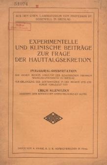 Experimentelle und klinische Beiträge zur Frage der Hauttalgsekretion