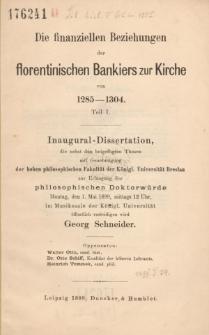 Die finanziellen Beziehungen der florentinischen Bankiers zur Kirche von 1285-1304. T. 1