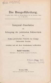 Die Baugefährdung : (Vergehen nach § 330 des Strafgesetzbuchs für das Deutsche Reich vom 15. Mai 1871.)