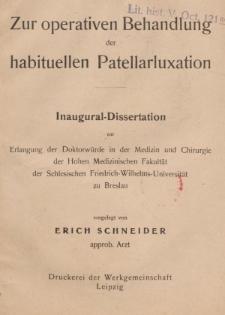 Zur operativen Behandlung der habituellen Patellarluxation
