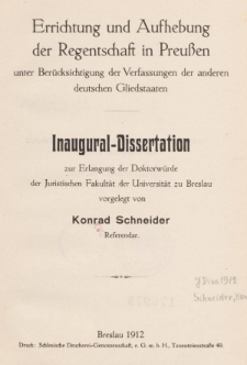 Errichtung und Aufhebung der Regentschaft in Preußen unter Berücksichtigung der Verfassungen der anderen deutschen Gliedstaaten