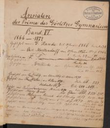Annalen der Prima des Goerlitzer Gymnasium. Band VI: 1866-1877
