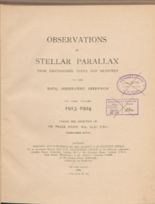 Observations of stellar parallax from photographs taken and measured at the Royal Observatory, Greenwich in the years 1913-1924 (I)