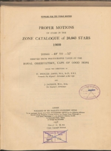Proper motions of stars in the zone catalogue of 20,843 stars 1900