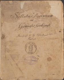 Syllabus docentium in Gymnasio Gorlicensis