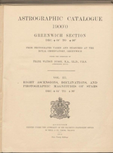 Astrographic Catalogue 1900.0 Greenwich Section Dec. +64° to +90°.