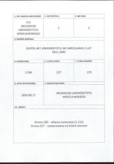 Bestimmungen über die Immatrikulation der Studierenden, 4.04.1812 - 16.09.1872