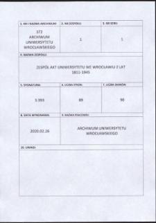 Akta rektora Uniwersytetu Wrocławskiego dotyczące Instytutu Wschodniej Europy, 8.06.1936 - 22.04.1941