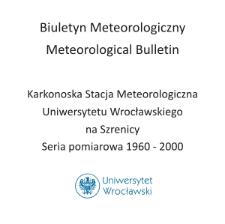 Biuletyn Meteorologiczny Zakładu Klimatologii i Ochrony Atmosfery UWr: Szrenica 1962 - kwiecień