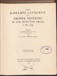 The Radcliffe Catalogue of proper motions in selected areas 1 to 115