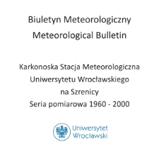 Biuletyn Meteorologiczny Zakładu Klimatologii i Ochrony Atmosfery UWr: Szrenica 1970 - sierpień