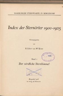 Index der Sternörter 1900-1925 Bd. 1. Der nördliche Sternhimmel