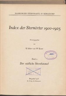 Index der Sternörter 1900-1925 Bd. 2. Der südliche Sternhimmel
