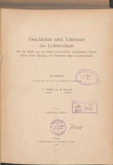 Geschichte und Literatur des Lichtwechsels der bis Ende 1915 als sicher veränderlich anerkannten Sterne nebst einem Katalog der Elemente ihres Lichtwechsels. Bd. 2.