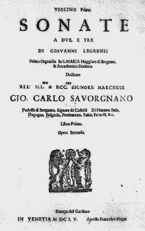 Sonate a due, e tre [...] Libro primo. Opera seconda.