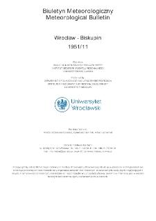 Biuletyn Meteorologiczny Zakładu Klimatologii i Ochrony Atmosfery UWr: Wrocław 1951 - listopad