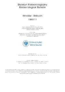 Biuletyn Meteorologiczny Zakładu Klimatologii i Ochrony Atmosfery UWr: Wrocław 1960 - listopad