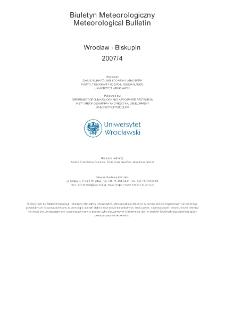Biuletyn Meteorologiczny Zakładu Klimatologii i Ochrony Atmosfery UWr: Wrocław 2007 - kwiecień