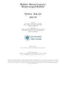 Biuletyn Meteorologiczny Zakładu Klimatologii i Ochrony Atmosfery UWr: Wrocław 2007 - październik