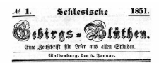 Schlesische Gebirgs-Blüthen. 1851-11-08 Jg. 17 Nr 88