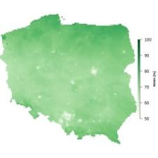 Średnia wilgotność powietrza w sierpniu