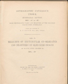 Astrographic Catalogue 1900.0. Hyderabad Section Dec. -16° to -21°. Vol. II. Measures of rectangular co-ordinates and diameters of 61,378 star-images on plates with centres in Dec. -18°