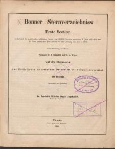 Bonner Sternverzeichniss Erste Section enthaltend die genäherten mittleren Oerter von 110984 Sternen zwischen 2 Grad südlicher und 20 Grad nördlicher Declination für den Anfang des Jahres 1855