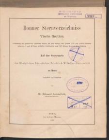 Bonner Sternverzeichniss Vierte Section enthaltend die genäherten mittleren Oerter für den Anfang des Jahres 1855 von 133659 Dternen zwischen 2 und 23 südlicher Declination und 1173 diesen Grenzen benachbarten