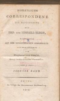 Monatliche Correspondenz zur beförderung der Erd- und Himmels-Kunde. Bd. X.