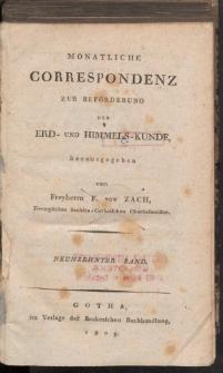 Monatliche Correspondenz zur beförderung der Erd- und Himmels-Kunde. Bd. XIX.