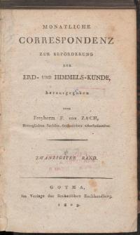 Monatliche Correspondenz zur beförderung der Erd- und Himmels-Kunde. Bd. XX.