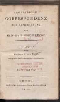Monatliche Correspondenz zur beförderung der Erd- und Himmels-Kunde. Bd. XXII.