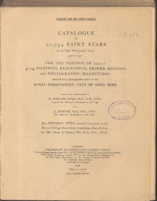 Catalogue of 20, 554 faint stars in the Cape Astrographic Zone -40° to -52° for the equinox of 1900.0