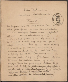 Codex diplomaticus Dobrilucensis. Tomus I