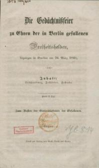 Die Gedächtnißfeier zu Ehren der in Berlin gefallenen Freiheitshelden begangen in Breslau am 26. März 1848