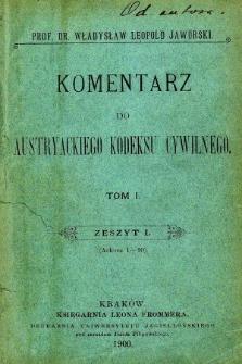 Komentarz do austryackiego kodeksu cywilnego. Z. 1, (ark. 1-10)