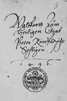 Walffarrtt zum Heiligen Grab Peter Rindfleischs Sehligen 1496