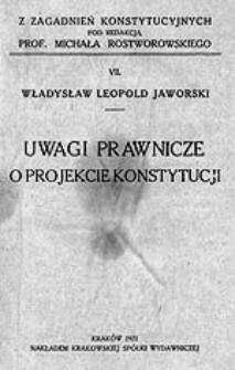 Uwagi prawnicze o projekcie konstytucji