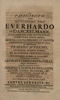 Ad panegyricum, quem [...] Everhardo de Danckelmann [...] Georgius Christianus a Stille [...] dicet [...] invitat Academiae Prorector Samuel Strykius [...].