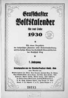 Graffschafter Volkskalender für das Jahr 1930, Jg.7