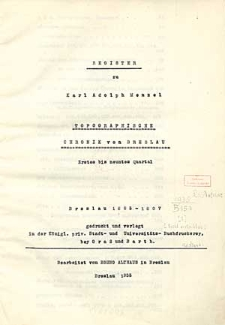 Register zu Karl Adolph Menzel Topographische Chronik von Breslau