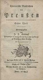 Litterarische Nachrichten von Preußen [...].