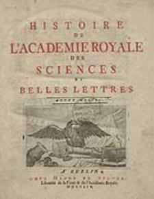 Histoire De L'Academie Royale Des Sciences Et Belles Lettres. Année MDCCLI.