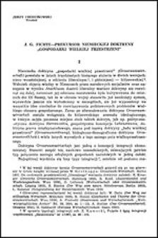 """J. G. Fichte - prekursor niemieckiej doktryny """"gospodarki wielkiej przestrzeni"""""""