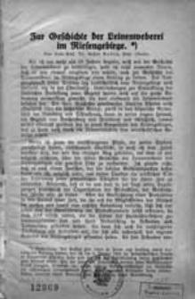 Zur Geschichte der Leinenweberei im Riesengebirge