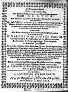Zur Ewigen gedächtnüß. Leichen oder Marmelstein Der [...] Frawen Agathae, Des [...] Herrens H. Hansen von der Linde [...] nachgelassener [...] Tochter, Des aber auch [...] Herren H. Valentin von Bodeck [...] HaußEhren, So in diesem [...] 1630. Jahre [...] Seelig die böse Welt gesegnet [...] /  Welchen mit trawrigen Händen [...] auffgesetzet [...] hat M. Adamus Büthnerus [...].