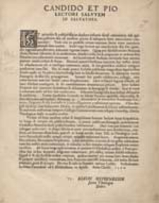 Candido Et Pio Lectori Salutem In Salvatore.